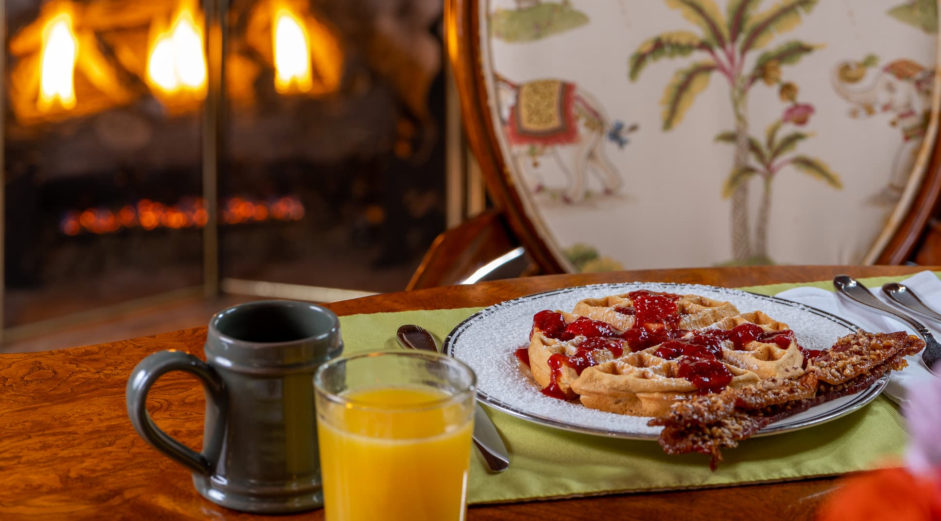 waffle by the fireplace at our B&B near Asheville