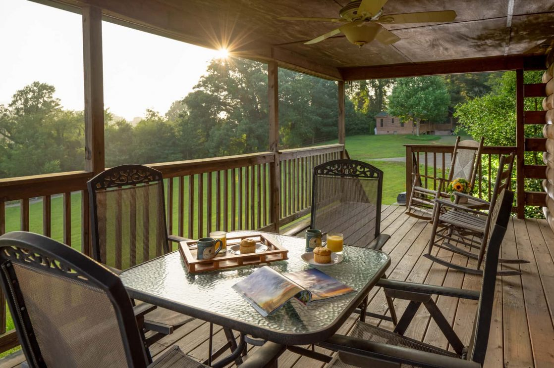 breakfast with mountain views at our B&B near Asheville, NC