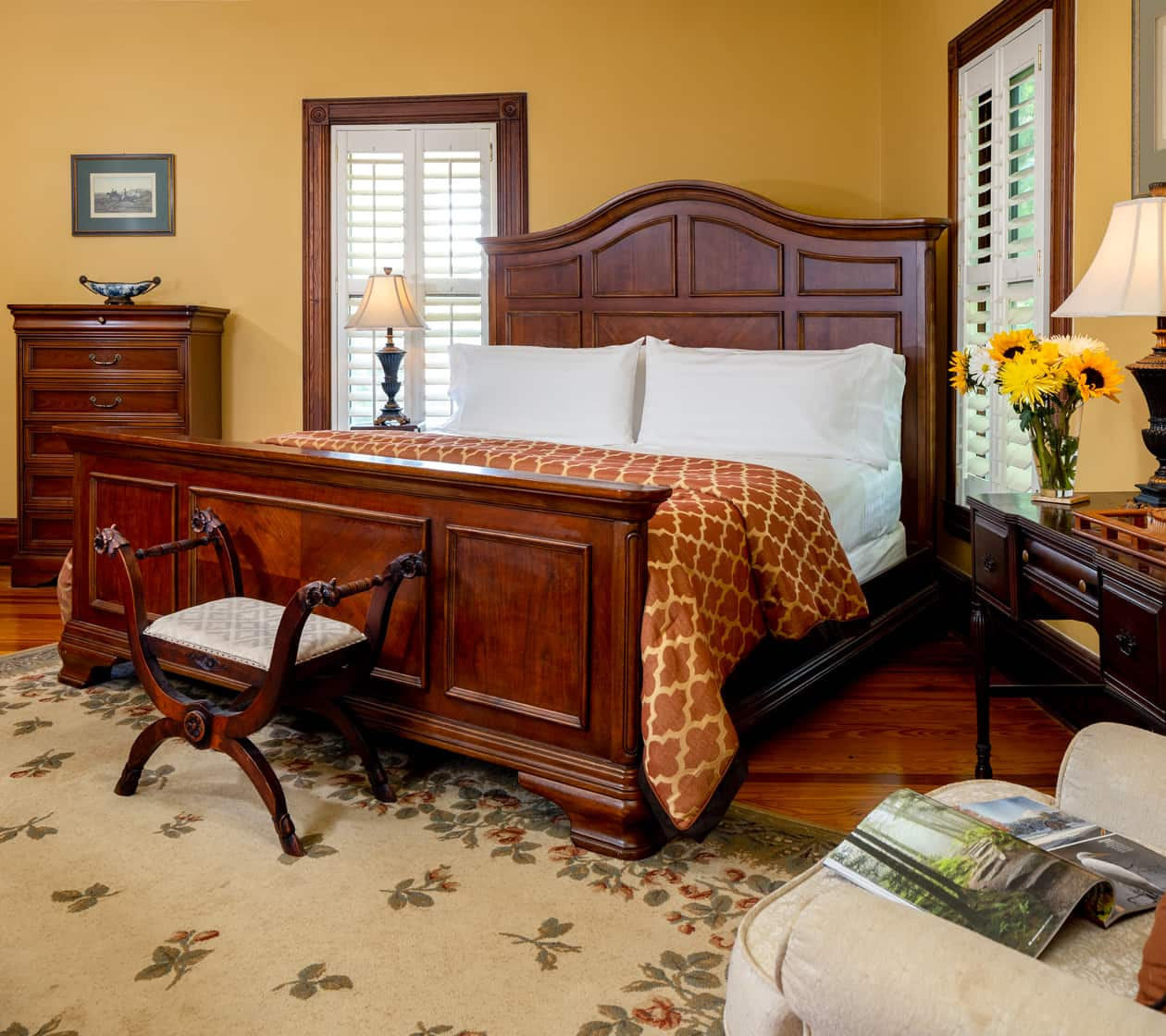 romantic guest room at our bed and breakfast near Asheville
