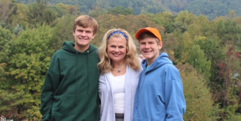 mom and two sons in Blue Ridge Mountains