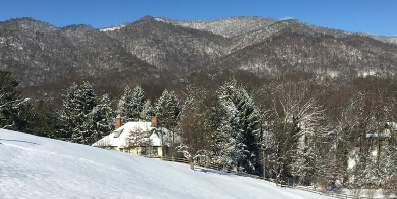 snow covered hills in Blue Ridge Mountains