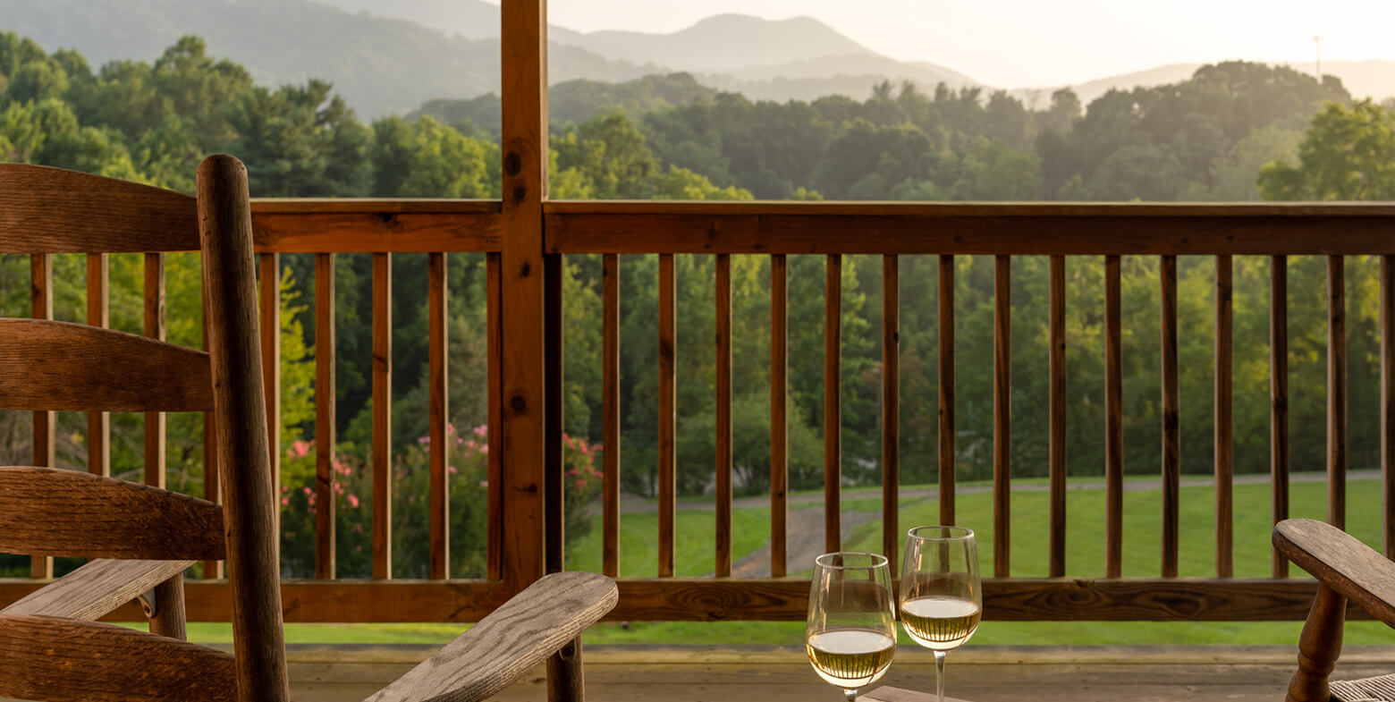cabin porch with mountain view